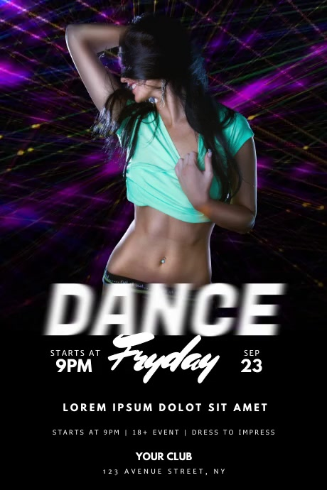 Dance Party flyer template Póster