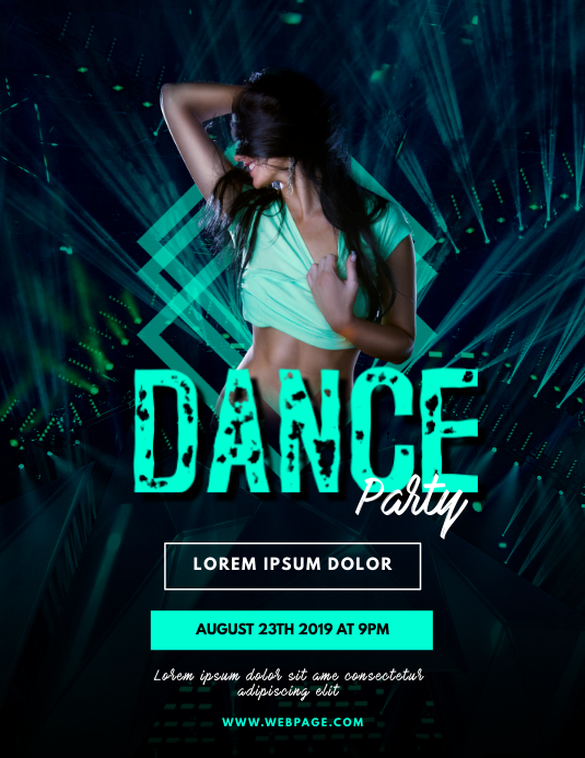 Dance Party flyer template Pamflet (Letter AS)