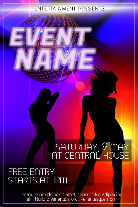 dance party night club flyer template