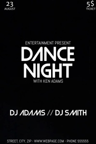 Dance party night video flyer template