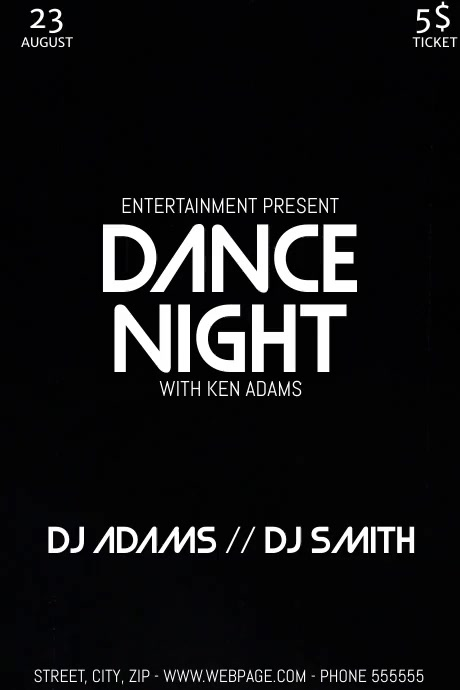 Dance party night video flyer template Plakat