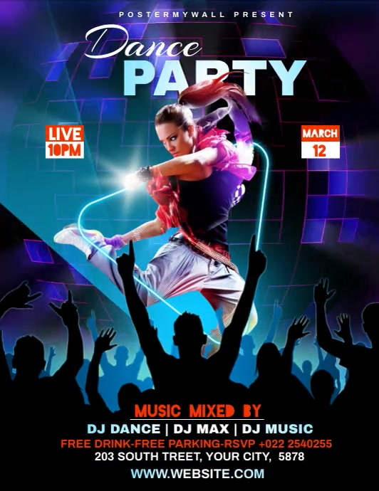 Dance Party Template Flyer (US Letter)