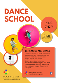 Dance School Lessons Academy Dancing Ad A4 template