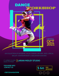 DANCE STUDIO FLYER TEMPLATE Рекламная листовка (US Letter)