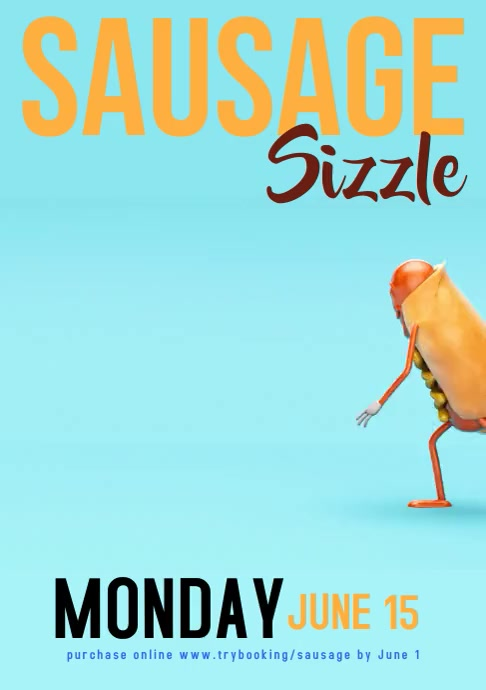 Dancing Sausage sizzle poster A4 template