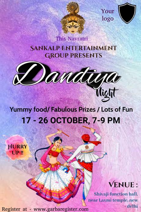 Dandiya contest Plakat template