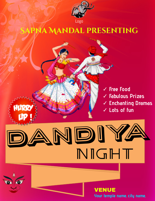 Dandiya night Volantino (US Letter) template