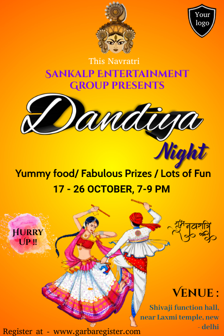 Dandiya on Navratri Poster template
