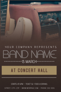 darjk brown guitar concert or band flyer template