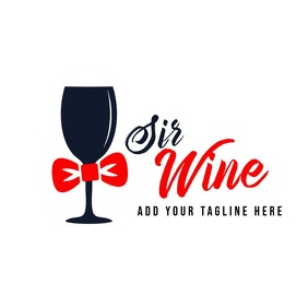 Dark and red wine logo template design