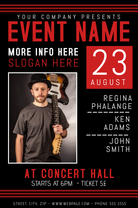 dark black red concert band event guitar rock flyer template