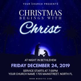 Dark Blue Animated Christmas Church Service Invite