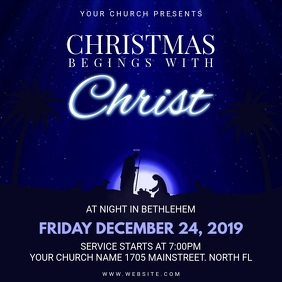 Dark Blue Animated Christmas Church Service Invite