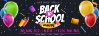 Dark blue back to school party banner Facebook-Cover template