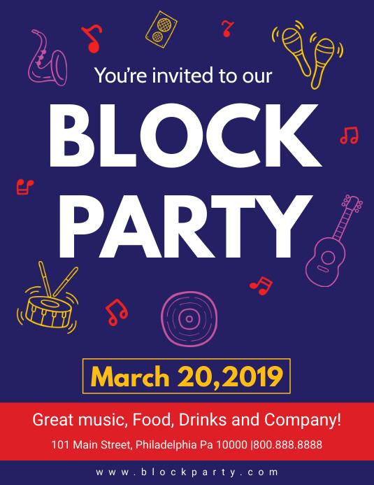 Dark Blue Block Party Flyer