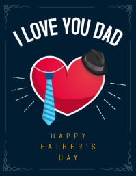 Dark Blue Father's Day Wish Flyer Template