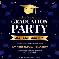 Dark blue graduation virtual party invite Instagram-bericht template