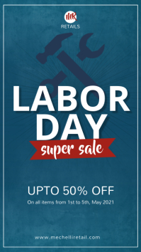 Dark blue labor day sale instagram story template