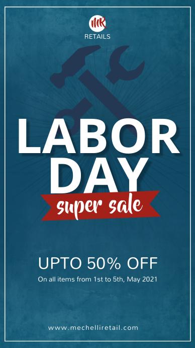 Dark blue labor day sale instagram story template