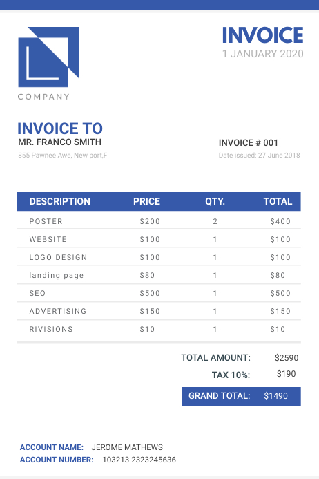 Dark Blue Modern Digital Sales Invoice Poster template