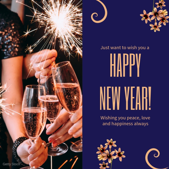 Dark Blue New Year Greetings Online Template