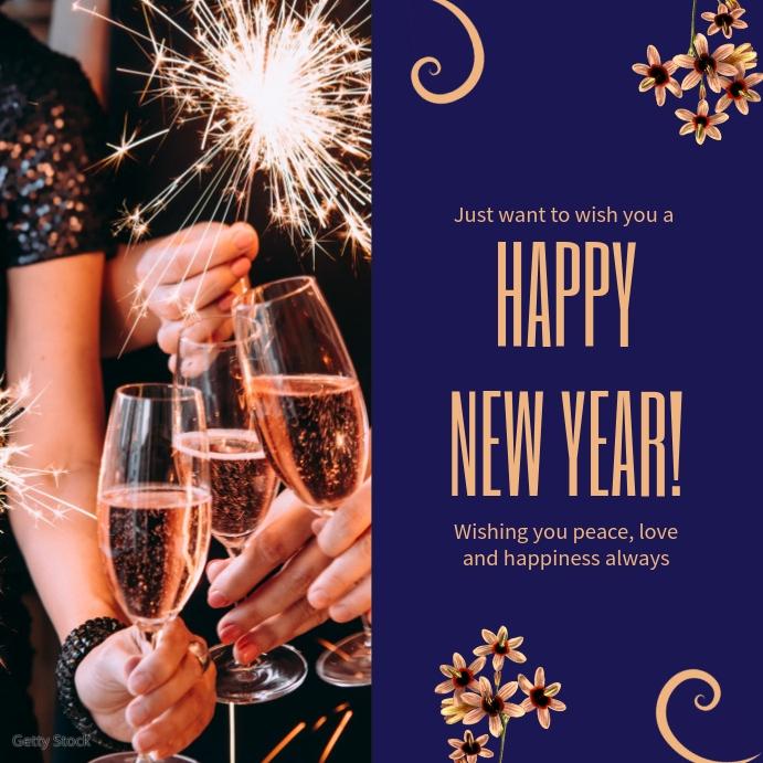 Dark Blue New Year Greetings Online Template
