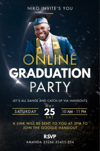 Dark Blue Online Grad Party Poster template