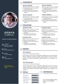 Dark Blue Resume CV Template Design A4