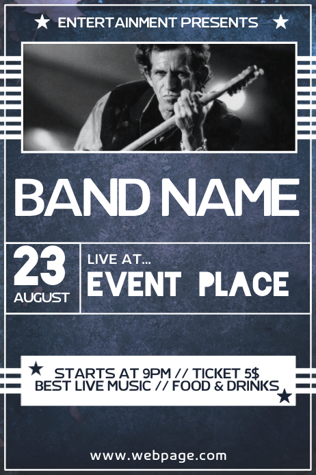 Dark Blue Rock Concert Band Event Poster Flyer Template Postermywall