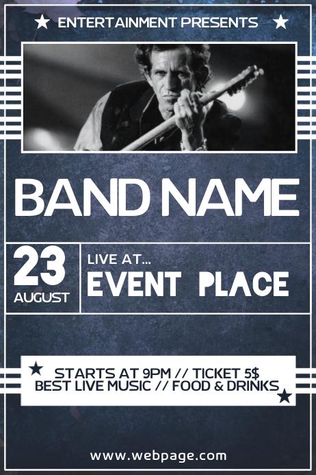 dark blue rock concert band event poster flyer template
