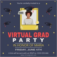 Dark blue virtual grad party invitation templ Instagram-bericht template