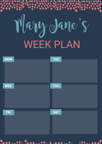 Dark Blue Weekly Planner Custom Template