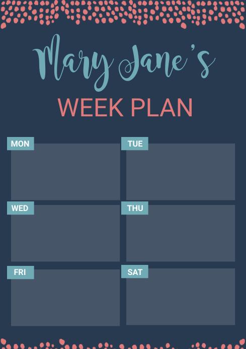 Dark Blue Weekly Planner Custom Template