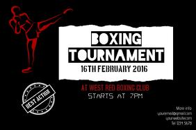 Dark boxing tournament landscape poster