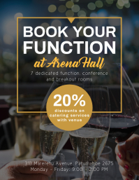 Dark brown book your function venue hire flye Flyer (Letter pang-US) template
