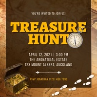 Dark brown treasure hunt design Quadrato (1:1) template