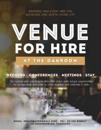 Dark brown venue for hire flyer template