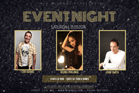 DARK GOLD NIGHT EVENT PARTY FLYER TEMPLATE LANDSCAPE