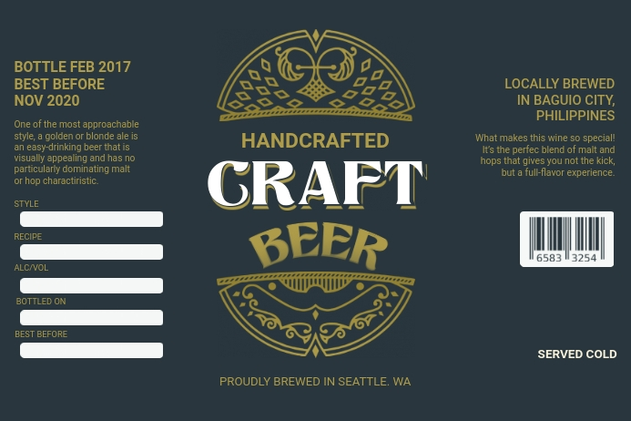 Dark Green Beer Label Template Etiket