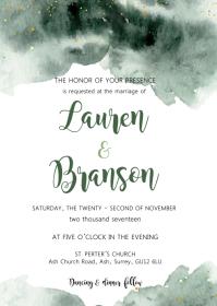Dark green wedding theme invitation A6 template