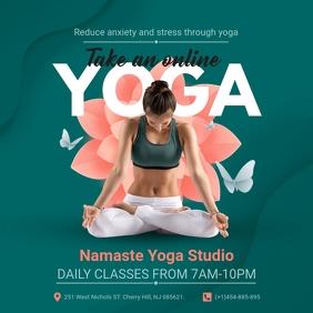 Dark Green Yoga and Meditation Class Instagra โพสต์บน Instagram template