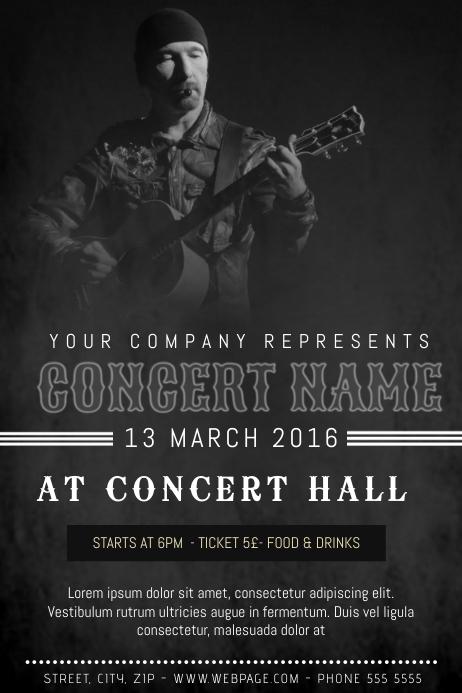 dark grunge old indie rock style poster concert template