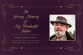 Dark Purple In Loving Memory Poster Template