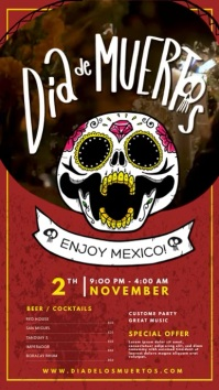 Dark Red Dia de los Muertos Bar Display