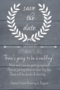 Dark Rustic Save the Date