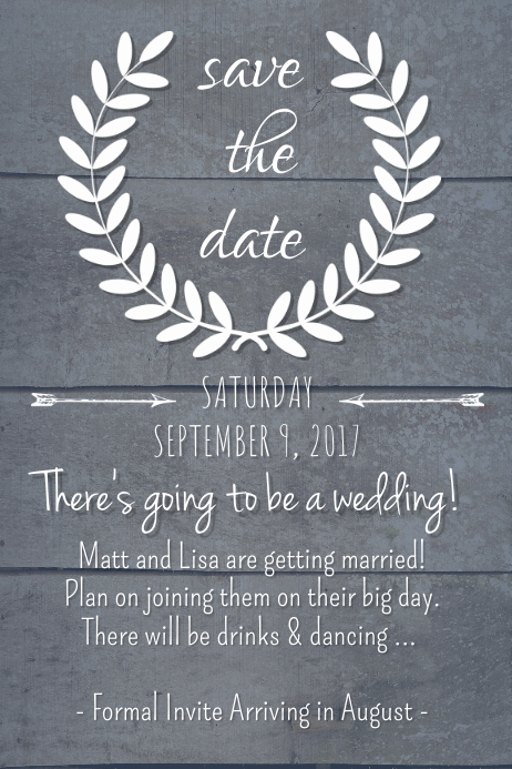 Dark Rustic Save the Date Poster template