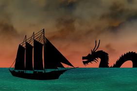 Dark Sea landscape with creature - asian ocean dragon attacking ship
