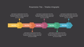 Dark Timeline Infographic Pagtatanghal (16:9) template