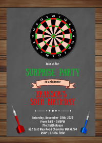 Dart birthday party invitation A6 template