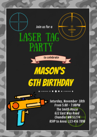 Dart gun birthday party invitation